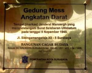 Plakat Gedung Mess Angkatan Darat